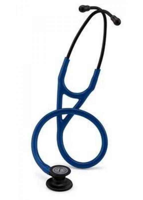3M Littmann Kardiyoloji IV Stetoskop 6168, Siyah Yüzey Dinleme Çanı, Siyah Kök ve Kulaklık, 27 inç, Lacivert Hortum